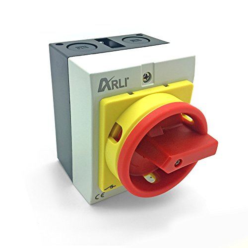 Hauptschalter 4 polig 16A Drehschalter mit Kunststoffgehäuse IP65 4P16A-G Trennschalter 16 amper Trenn Dreh Haupt Maschinen Schalter 4pol 230-440 V Kunststoff Gehäuse ARLI