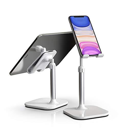 スマホスタンド タブレットスタンド 角度高度調整可能 スマホホルダー PCホルダー 完全折り畳み式 シリコン滑り止め 収納便利 iPhone/iPad/Android/Nintendo Switch/Kindleなど(4-11インチ)に対応 (ホワイト)