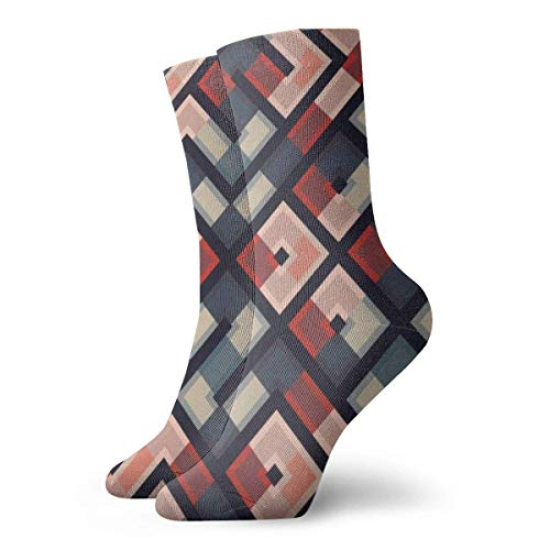 Drempad Calcetines de Vestir Unisex Geometric Shape Retro Funny Polyester Crew Socks 11.8 Inch