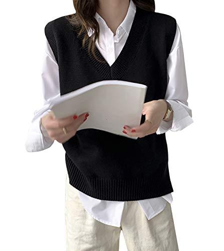 Minetom Pull sans Manche Col V Femme Fille Gilet en Tricot Automne Mince Débardeurs Chandail Business Bureau Tops Hauts B Noir 38