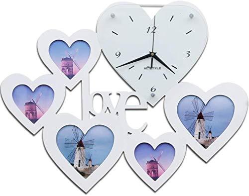 Macro Amor en Forma de corazón DIY Marco de Fotos Reloj de Pared Reloj de Pared Relojes Creativo Tablas de Pared Reloj Sala de Estar Dormitorio