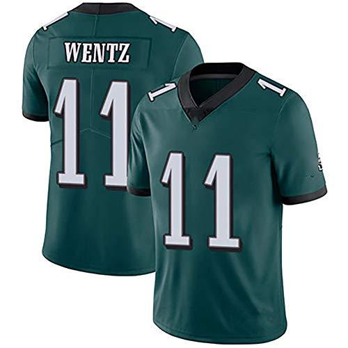 EWDS American Football-Trikot für Erwachsene und Kinder, Wentz-Trikot Nr. 11 in Philadelphia, schweißabsorbierende und schnell trocknende Kurze Ärmel, schnell versandt-Green-M