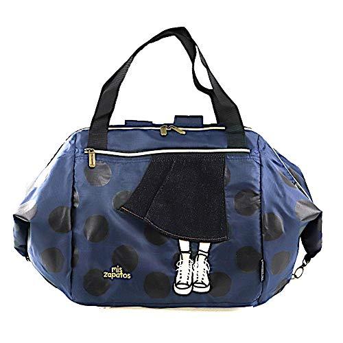 [ミスサパト] 買い物バッグ レディース 3WAY 折りたたみ かごサイズ キャリーオン フレアスカート ネイビー