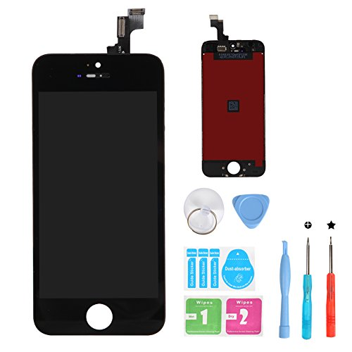 HSX_Z Screen Replacement for iPhone 5s Black 3D Touch Screen LCD Digitizer Replacement Frame Display Assembly Set with Repair Tool Kits