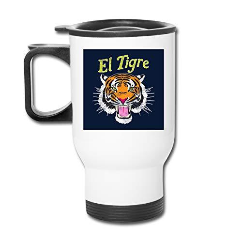 El Tigre Tiger Trikot Doppelwandiger Vakuum-Kaffeebecher mit spritzwassergeschütztem Deckel für heiße und kalte Getränke