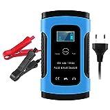 Cargador de batería, 12V 6A Pantalla LCD Reparación de motocicleta para automóvil Cargador de batería completamente inteligente Azul UE