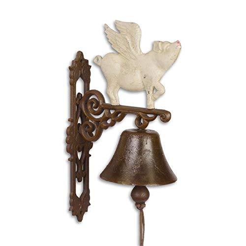 Moritz gietijzeren wandbel vliegend varken wit klok deurbel 38 cm hoogte huisbel antieke stijl bruin bel versierd