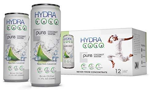 Hydra Coco Pure Premium Bebida de agua de coco | Empaquetado con electrolitos | Mejor bebida natural para hidratar | Bebidas deportivas | Sin azúcar añadido | Sin OMG | Sin gluten | Paquete de 12