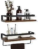COZIA Floating Shelves Wall Mounted Storage Shelves Rustic Wood Decor Set of 2 for Kitchen, Bathroom,Living...