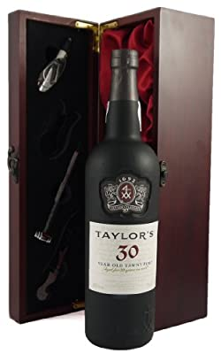 Taylors 30 year old Tawny Port 75CL 1991 presented in a silk lined wooden box with four wine accessories 75cl, 1 x 750ml