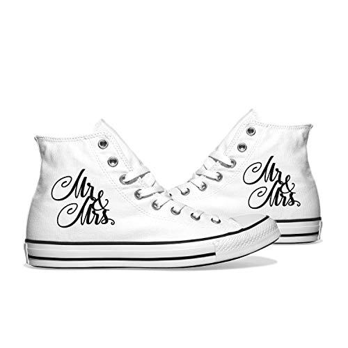 INKICKS - weißer Sneaker Bedruckt im schwarzem Mr. & Mrs. Design Gr. 39 I Hochzeitsgeschenk I Made in Germany I Für Damen & Herren I Individuelle Anfertigung nach Kundenbestellung