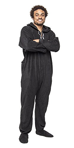 Forever Lazy Footed Adult Onesie - Black to Sleep - XXL