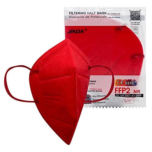 ASTORMEDIC Mascarillas FFP2 Jiada- Homologadas CE- para Adultos [20 unidades] Mascarilla de Protección con 5 capas. Alta eficiencia filtración bacteriana. Colores. Envase Individual (Roja)
