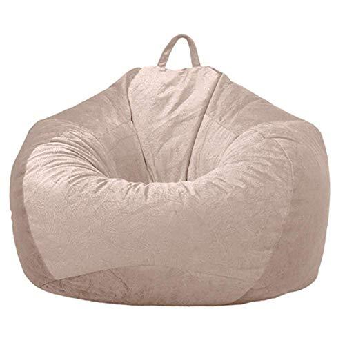 YFYTYG-PX Funda De Puf, Puf Gigante Funda De Puff Material De Pelo Corto Suave Funda De Puff Grande Sofá para Exterior E Interior Sin Relleno,Beige,L: 90x110cm