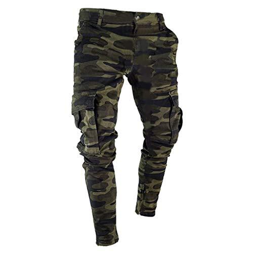 SUMTTER Pantalone Uomo Jeans Denim Pants Camo Jeans Uomo Slim Fit, Stretti alla Caviglia Pantaloni Uomo Cargo Taglie Forti Trousers con Tasche