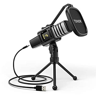 USB Microphone, TONOR Condenser Computer PC Mic with Tripod Stand, Pop Filter, Shock Mount for Gaming, Streaming, Podcasting, YouTube, Skype, Twitch, Discord, Compatible with Laptop Desktop, TC30