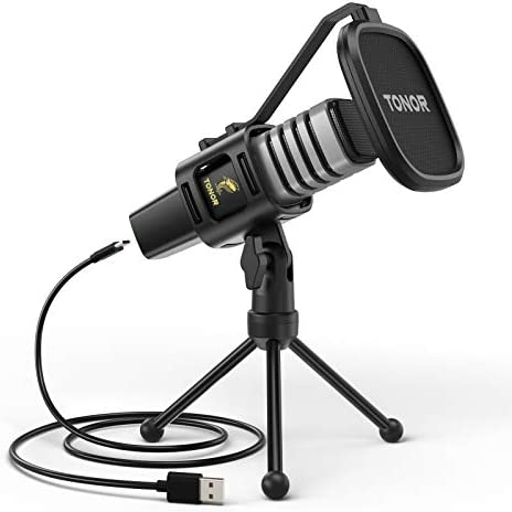 USB Microphone TONOR Condenser Computer PC Mic with Tripod Stand Pop Filter Shock Mount for product image