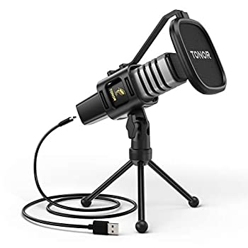 USB Microphone TONOR Condenser Computer PC Mic with Tripod Stand Pop Filter Shock Mount for Gaming Streaming Podcasting YouTube Voice Over Skype Twitch Compatible with Laptop Desktop TC30