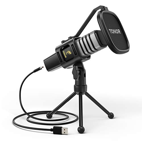 Microfono USB, TONOR Condensatore Computer PC Mic con Supporto per Treppiede, Filtro Pop, Supporto Shock per Gaming, Streaming, Podcasting, YouTube, Voice Over, Skype, Twitch, Discordia, TC30