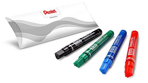 Pentel N50 marcatore permanente punta conica 4 pz colori assortiti (nero, rosso, blu, verde)