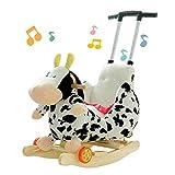 Schaukelpferd XMJ Kinderschaukelpferd, Plüsch Kid Holz Rocker Baby-Tier Fahrt for Säuglingskinder Rocker Chair 2 in 1 Plüsch-Spielzeug-Baby-Spielzeug-Geschenk