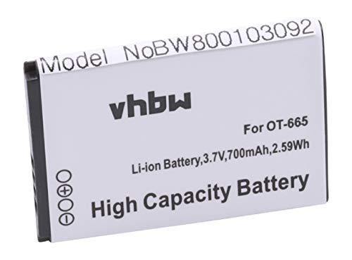 vhbw Li-Ion Akku 700mAh (3.7V) passend für Handy Smartphone Handy Alcatel One Touch OT-2010, OT-2010D, OT-2010G, 2012, OT-665, OT-665x, Sesame II