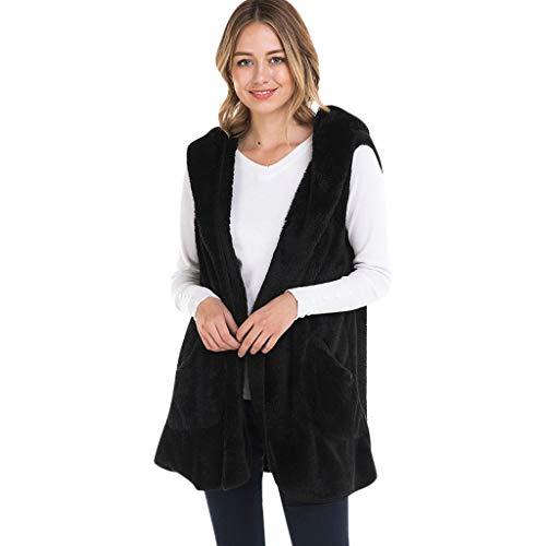 Komise Fashion Damen Solide Mit Kapuze Ärmellose Taschen Warme Kaschmir Weste Strickjacke Mantel