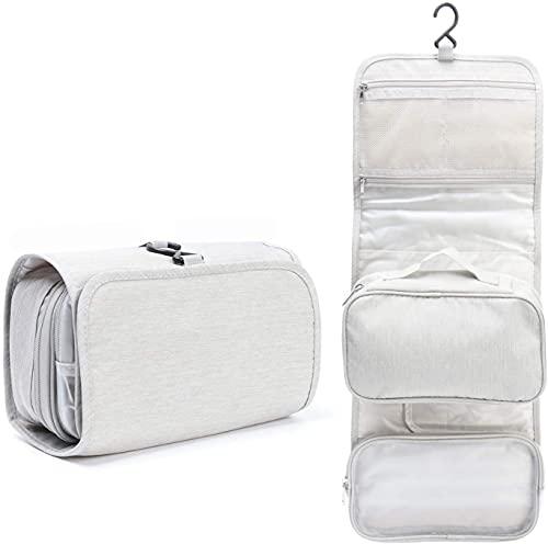 Harmonious Trousse de toilette - Sac de rangement de salle de bain - Sac de rangement portable à suspendre (blanc non droit)
