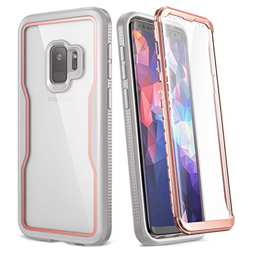 YOUMAKER Galaxy S9 Case, with Built-in Screen Protector and Clear back, Heavy Duty Protection Shockproof Cover for Samsung Galaxy S9 Case 5.8 inch-Rose Gold/Gray