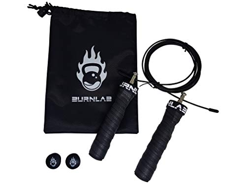 Burnlab Pro Speed Skipping Rope - Anti Slip, Adjustable, Ball Bearing Design for Gym, Crossfit, Double Unders, Speed Jumping, Boxing, Cardio and Weight Loss - for Men and Women (Black)