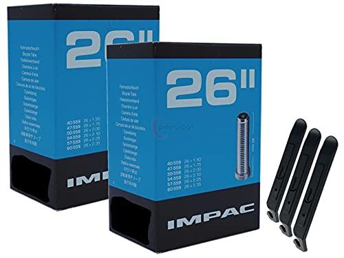 pneugo! Impac 40-559/60-559 - Cámara de aire para bicicleta (2 unidades, 26', con válvula automática 40-559, incluye 3 desmontadores)