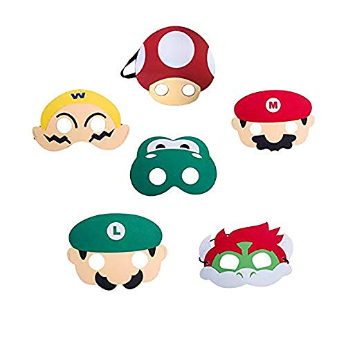 thematys Super Mario Máscara 6er Set cumpleaños y Carnaval - Disfraz para niños y Adultos - un tamaño para Todos