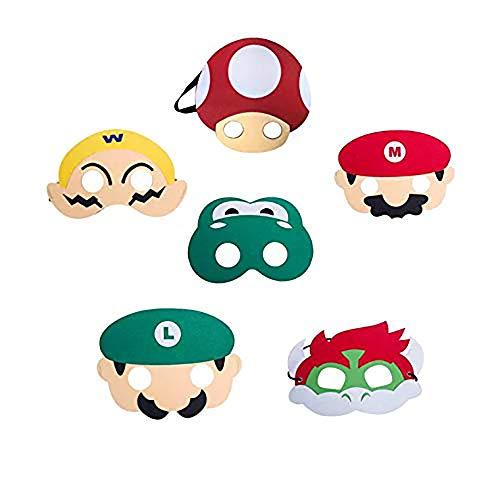 thematys Super Mario Masken Maske 6er Set - perfekt für Geburtstag, Karneval & Fasching - Kostüm für Kinder und Erwachsene - Einheitsgröße