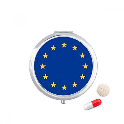 DIYthinker EU Nationale Vlag Europa Land Reizen Pocket Pil case Medicine Drug Opbergdoos Dispenser Spiegel Gift