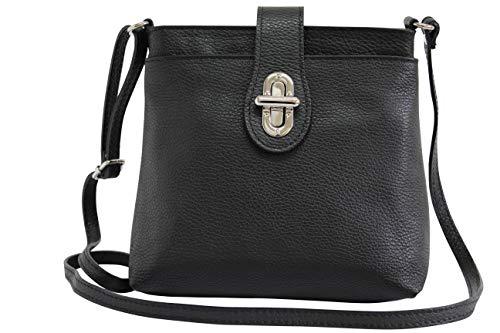 AmbraModa Borsa da donna in vera pelle, borsa a tracolla, borsa a spalla, city bag GL007 (nero)