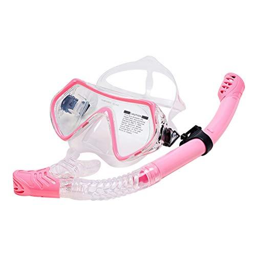 LIOOBO Schnorchel Set Taucherbrille Anti Fog Anti Leck Schnorchelmaske Trockenschnorchel Ohrstöpsel Tasche für Kinder Erwachsene (Rosa)