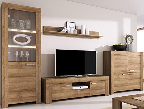 Furniture24 Wohnwand Anbauwand Sky - Tv Schrank Vitrine mit LED Beleuchtung Hängeregal Kommode (Riviera Eiche)