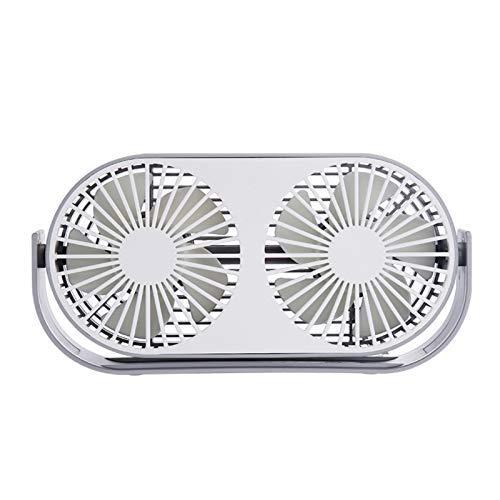 LIPENLI 360 Grados giratoria de Verano USB Doble Cabeza de enfriamiento Ventilador Personal 3 velocidades Ajustables for Ministerio del Interior al Aire Libre Blanca