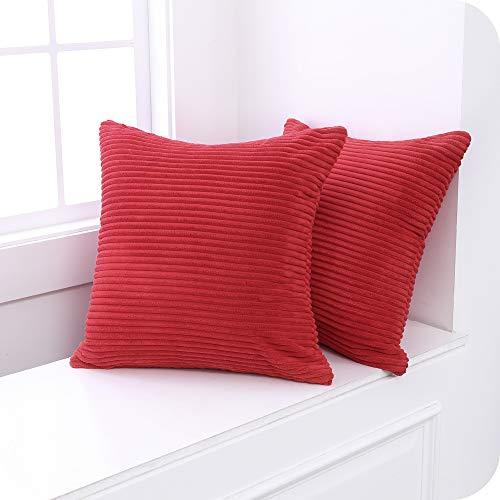 UMI. by Amazon Fundas para Cojin Decorativas Cuadrado Suave 2 Piezas 50x50cm Rojo