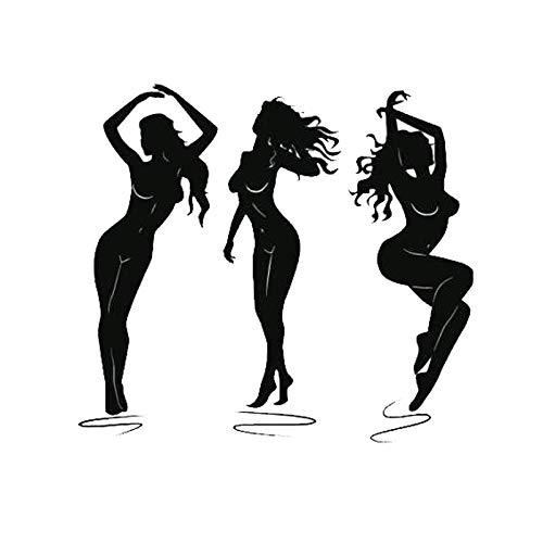 Cvxgdsfg 15,5 x 14,1 cm sexy charmante Frau tanzen Auto Aufkleber personalisierte Autodekoration Zubehör (Color : Black)