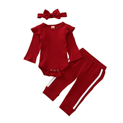 Newborn Baby Boys Girl Pajamas Clothes Set Solid Color Long Sleeve Ribbe Bodysuit+ Pants Outfits (Z # Knitted Ruffle Wine Red, 0-3 Months)