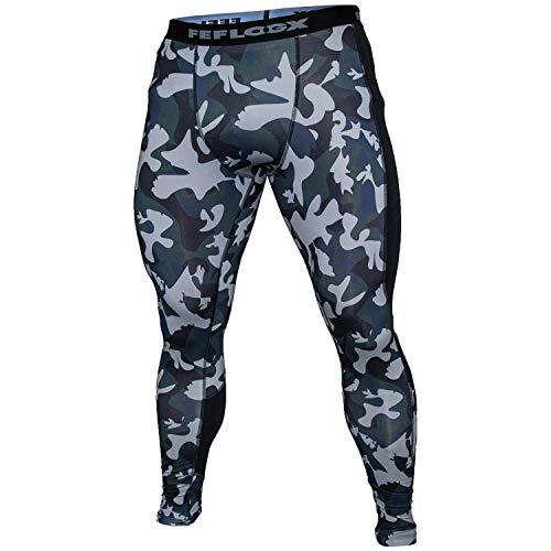 Feflogx Sportswear Herren Camouflage Leggings, hochwertige Tights mit Kompression, optimale Fitness-Hose für Kampf-Sport, MMA, Training & Gym
