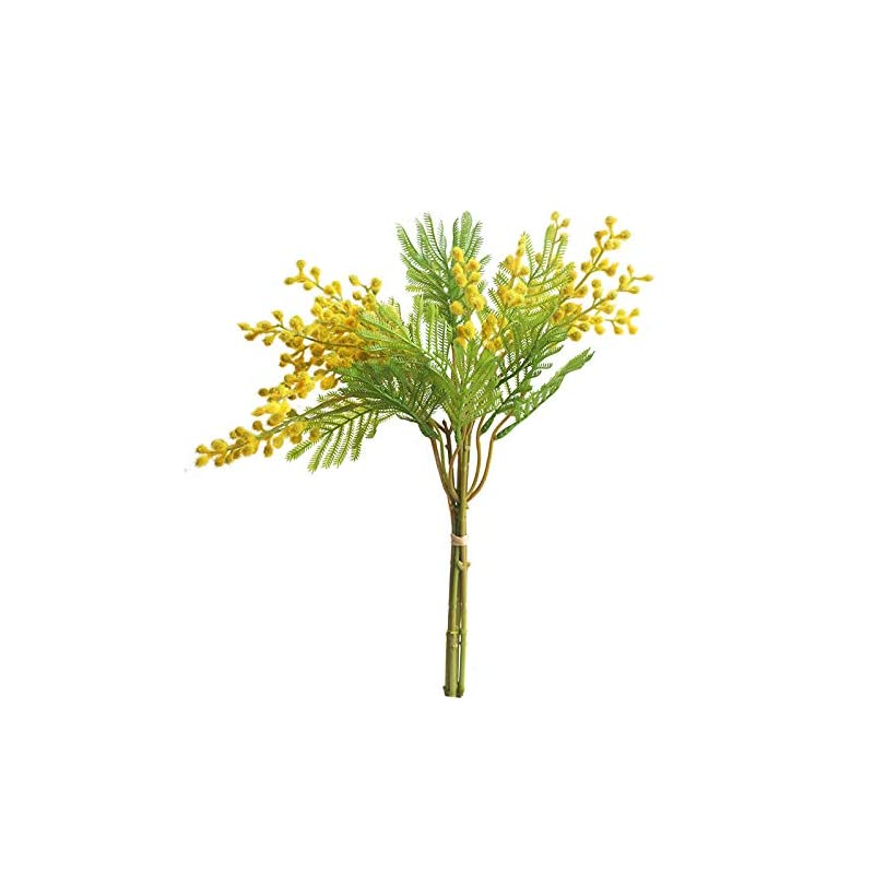 silk flower arrangements xilyya 35cm mimosa bouquet artificial flowers wedding bouquets centerpieces home decor (yelllow)