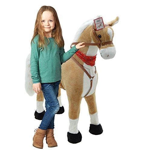 Pink Papaya Plüschpferd XXL 105cm - Sternchen, das riesige Pferd zum Reiten, EIN tolles Stehpferd XXL, bis 100kg, Spielpferd Pferd zum Draufsitzen inkl. Kleiner Bürste - EIN Kindertraum für Mädchen!