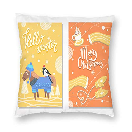 MAYUES Funda de cojín Feliz Navidad Invierno Postales Burro y Tela Funda de Almohada Decorativa para el hogar Sala de sofá 45x45cm