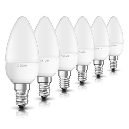 OSRAM LED STAR Ampoule LED, Forme flamme, Culot E14, 3,3W Equivalent 25W, 220-240V, dépolie, Blanc Chaud 2700K, Lot de 6 pièces