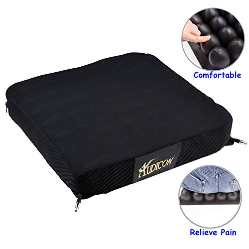 Audicon Wheelchair Cushion for Pressure Sores Air Seat Cushion Inflatable for Seniors Prevent Bed Sores Relieve Back Pain Sciatica Coccyx and Tailbone Pain Chair Cushion Cover 18×16 Black