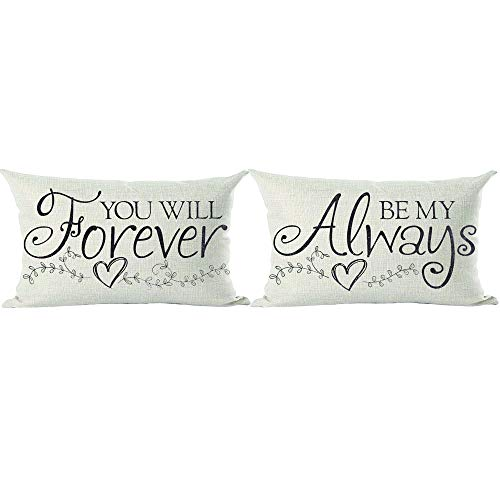 ramirar Set of 2 Quote Be My Always You Will Forever Love Lover Valentine's Day Decorative Lumbar Throw Pillow Cover Case Cushion Home Living Room Bed Sofa Car Cotton Linen Rectangular 12 x 20 Inches