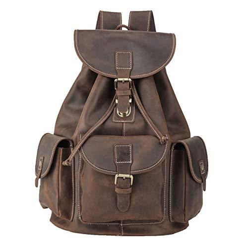 Polare Full Grain Leather Rucksack Backpack Vintage Casual Laptop Bag For Men Women