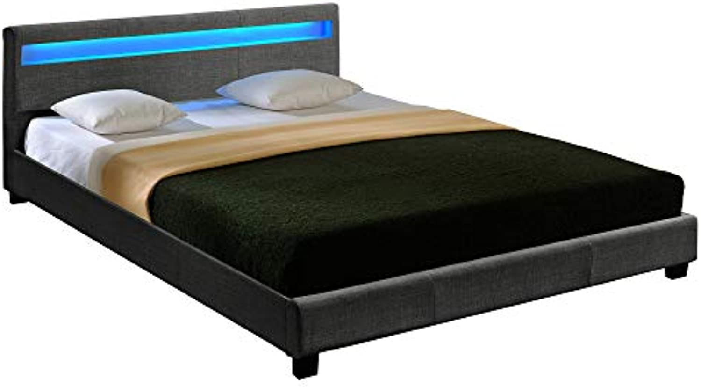 Corium Hochwertiges LED-Bett aus Stoff 140x200cm dunkelgrau inkl. Fernbedienung